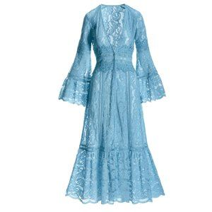 Boston Proper Turquoise Blue Lace Tiered Duster XS